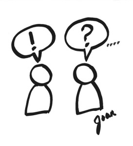 Ink doodle of faulty communication, misunderstanding